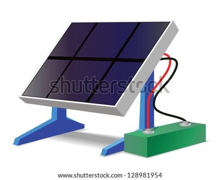 Solar battery icon Environmental - stock vector