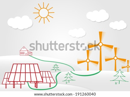 solar cell energy panels and wind turbine leading energy towards the house. ecology concept - stock vector