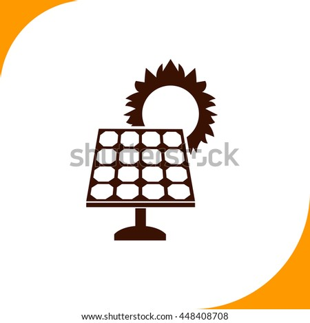 Solar collector sign. Brown icon on white background - stock vector