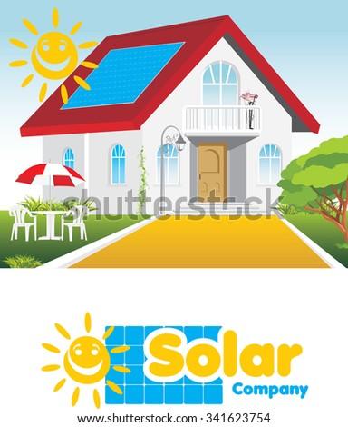 Solar company. Concept and logo. Vector - stock vector