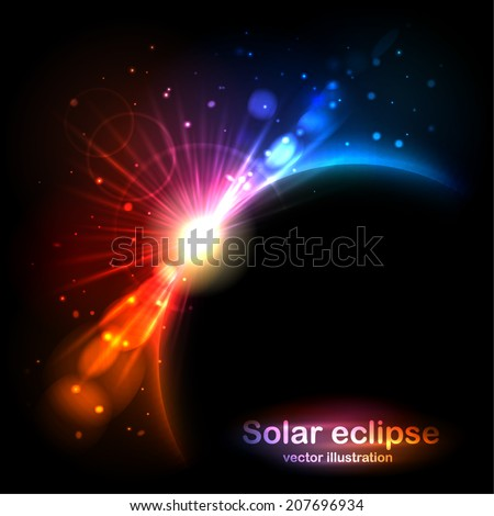 Solar Eclipse. Radiance and glow in the sky. Vector illustration can be used for web design, wallpapers, futuristic designs and banners. - stock vector
