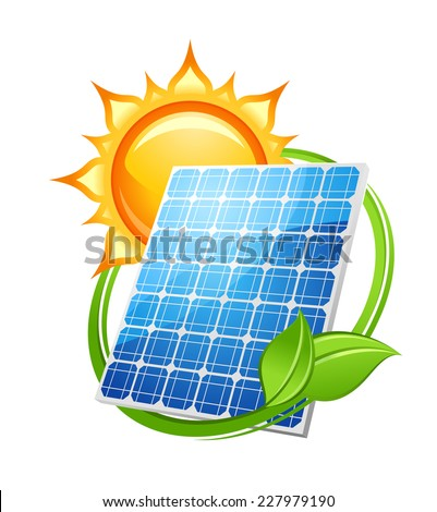 Solar energy and power concept to save the environment with a photovoltaic solar panel under a hot sun encircled with green leaves, vector illustration on white - stock vector