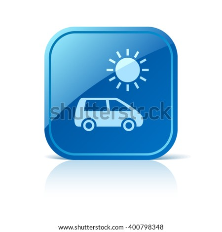Solar energy car icon on blue square web button - stock vector