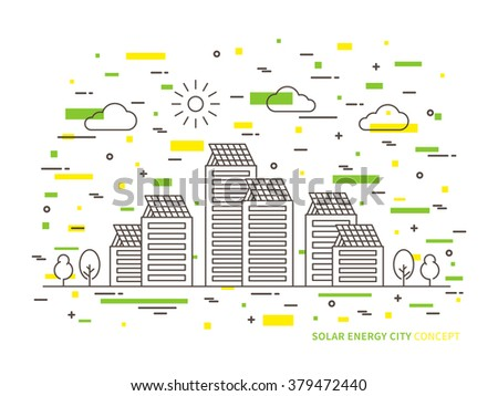 Solar energy city linear vector illustration. Eco power (electric, recycle, alternative) energy city creative graphic concept. Green electric technology to save environment (planet, earth).  - stock vector