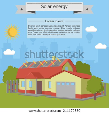 solar energy house home villa panel isometric ecology garage - stock vector