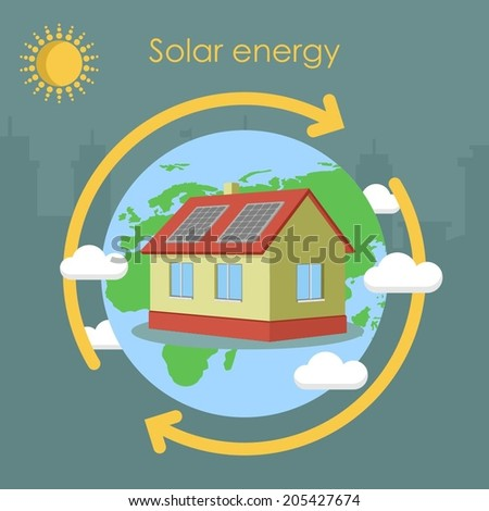 solar energy house panel ecology earth - stock vector