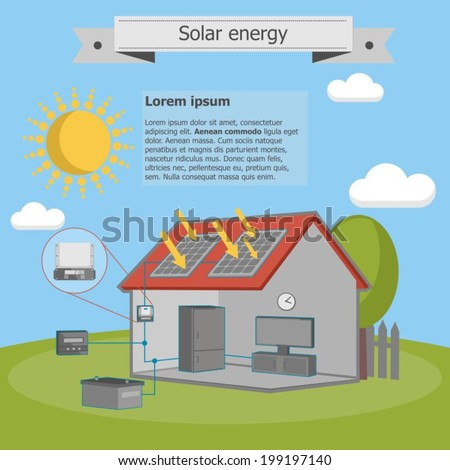 solar energy house panel scheme isometric energetics - stock vector