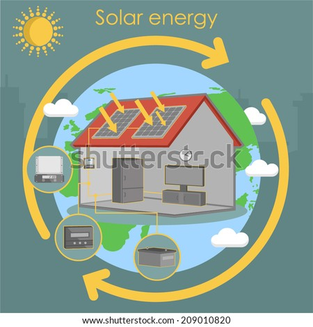 solar energy house panel scheme isometric energetics earth ecology solar energy house panel scheme isometric energetics earth ecology - stock vector