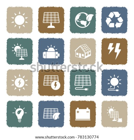 Solar Energy Icons. Grunge Color Flat Design. Vector Illustration.