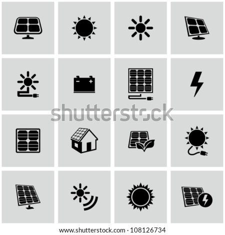 Solar energy icons set. - stock vector
