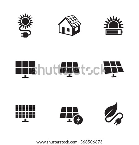 Solar energy icons set. Black on a white background