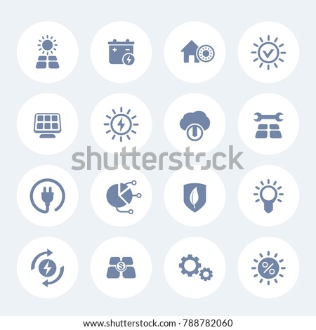 Solar energy icons set on white, sun powered alternative energetics, green electricity