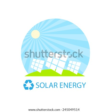 solar energy panel battery on blue sky green grass flat design icon vector illustration - stock vector