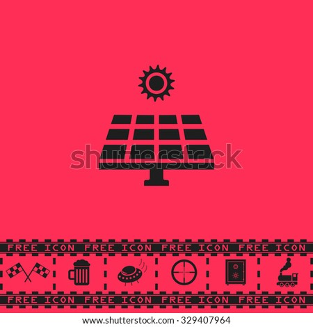Solar energy panel. Black flat vector icon and bonus symbol - Racing flag, Beer mug, Ufo fly, Sniper sight, Safe, Train on pink background - stock vector