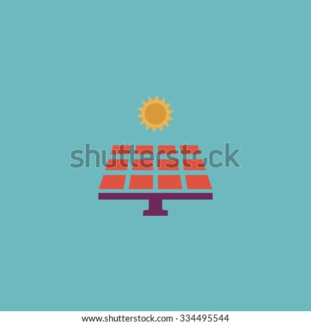 Solar energy panel. Colorful vector icon. Simple retro color modern illustration pictogram. Collection concept symbol for infographic project and logo - stock vector