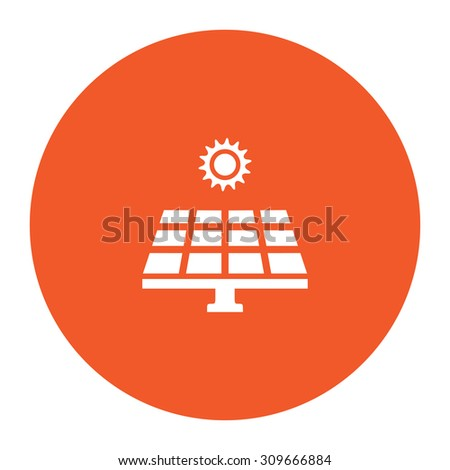 Solar energy panel. Flat white symbol in the orange circle. Vector illustration icon - stock vector