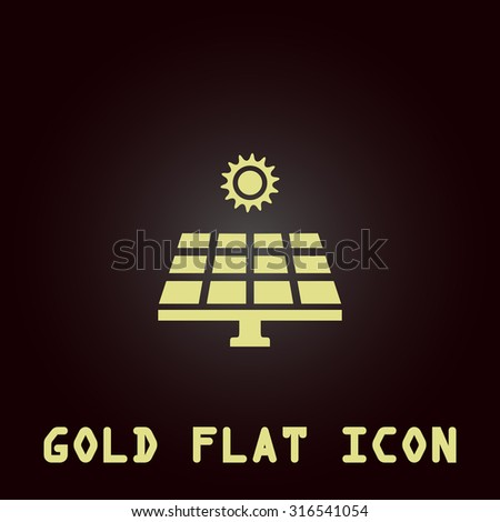 Solar energy panel. Gold flat vector icon. Symbol for web and mobile applications for use as logo, pictogram, infographic element - stock vector