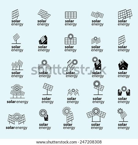 Solar Energy Panel Icons Set - Isolated On Blue Background - Vector Illustration, Graphic Design, Editable For Your Design - stock vector