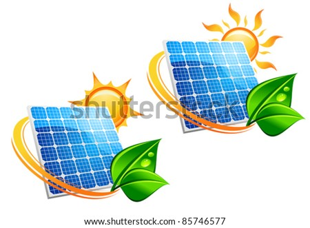 Solar energy panel icons with sun and green leaves for ecology concept, such a logo. Rasterized version also available in gallery - stock vector