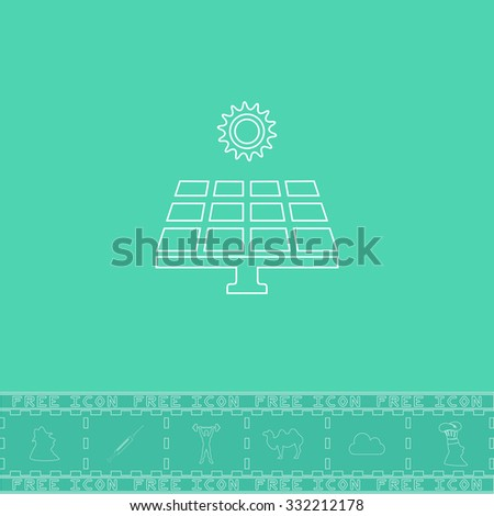 Solar energy panel. White outline flat symbol and bonus icon. Simple vector illustration pictogram on green background - stock vector