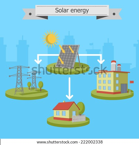 solar energy panels scheme  - stock vector