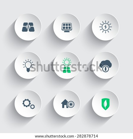 Solar energy round modern icons, vector illustration, eps10, easy to edit - stock vector