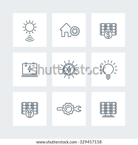 Solar energy, solar power, panels, thin line icons, vector illustration - stock vector
