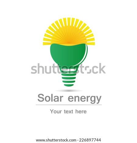 Solar energy sun shining from light bulb on white background, EPS10  - stock vector