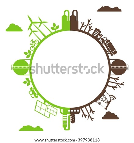 Solar energy, wind energy. Dirty city, factories, air pollution, landfill. Image for Earth Day,World environment day. Ecology design concept with pollution. Flat icons isolated vector illustration. - stock vector