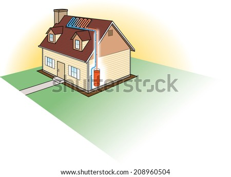 Solar Heating System. Vector Illustration of a Diagram of a solar water heating system.  - stock vector