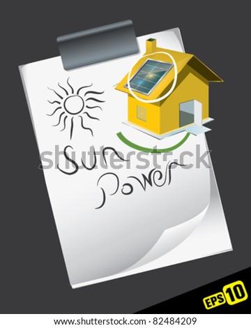 Solar house plan - stock vector