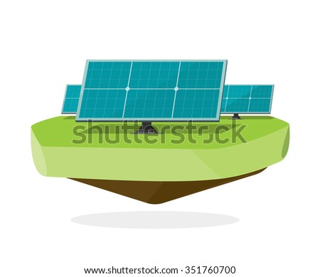 Solar modules vector flat illustration, sun power energy system panel element, solar farm field cells, technology equipment label, industry sticker isolated on white, trend modern design - stock vector