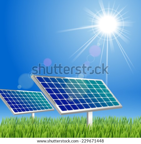 Solar panel against blue sky  - stock vector