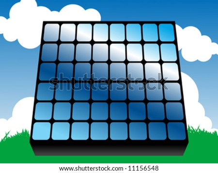 Solar panel, alternative energy concept, vector illustration - stock vector