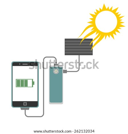 Solar panel charging a tablet or smart phone concept - stock vector