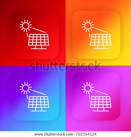 Solar panel four color gradient app icon set