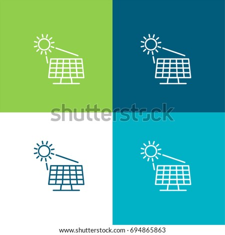 Solar panel green and blue material color minimal icon or logo design