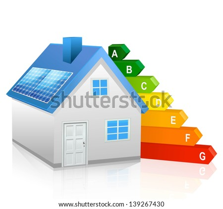 Solar panel house - stock vector