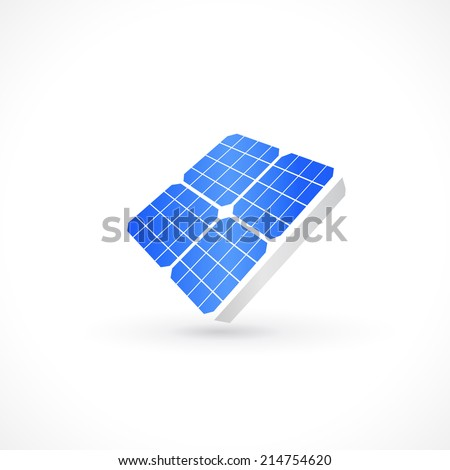 solar panel icon design in vector format - stock vector