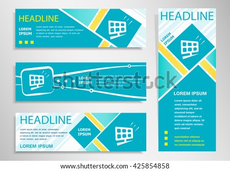 Solar panel icon  on vertical and horizontal banner. Modern abstract flyer, banner design template.