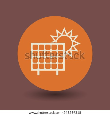 Solar panel icon or sign, vector illustration - stock vector