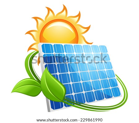 Solar panel icon with a golden hot sun above a photovoltaic panel encircled with fresh green leaves conceptual of renewable energy from natural resources,vector illustration on white - stock vector