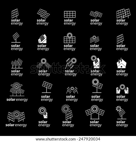 Solar Panel Icons Set - Isolated On Black Background - Vector Illustration, Graphic Design, Editable For Your Design - stock vector