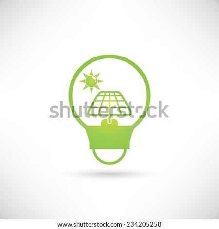 solar panel in bulb, clean energy concept - stock vector