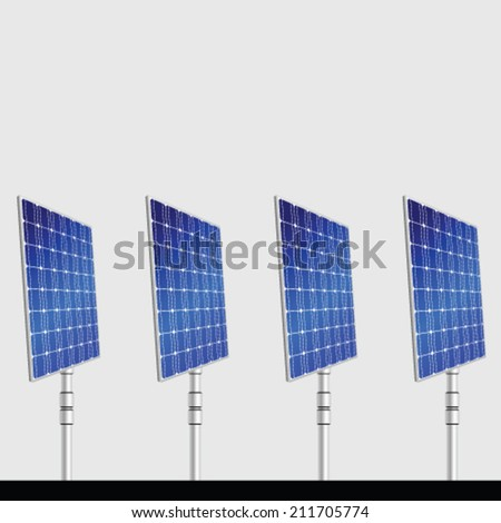 solar panel isolated on gray background vector illustration - stock vector
