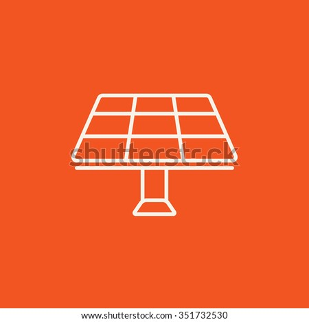 Solar panel line icon for web, mobile and infographics. Vector white icon isolated on red background. - stock vector