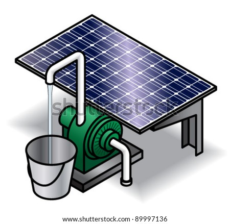 Solar panel powering a water pump delivering a stream of water into a bucket. - stock vector