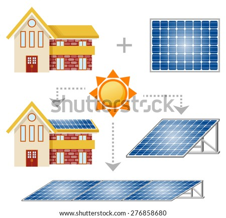 Solar Panel set - stock vector