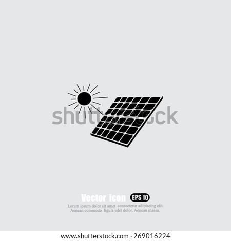 solar panel vector icon - stock vector