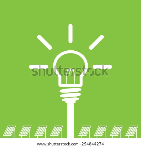 solar panel with bulb, clean energy concept - stock vector